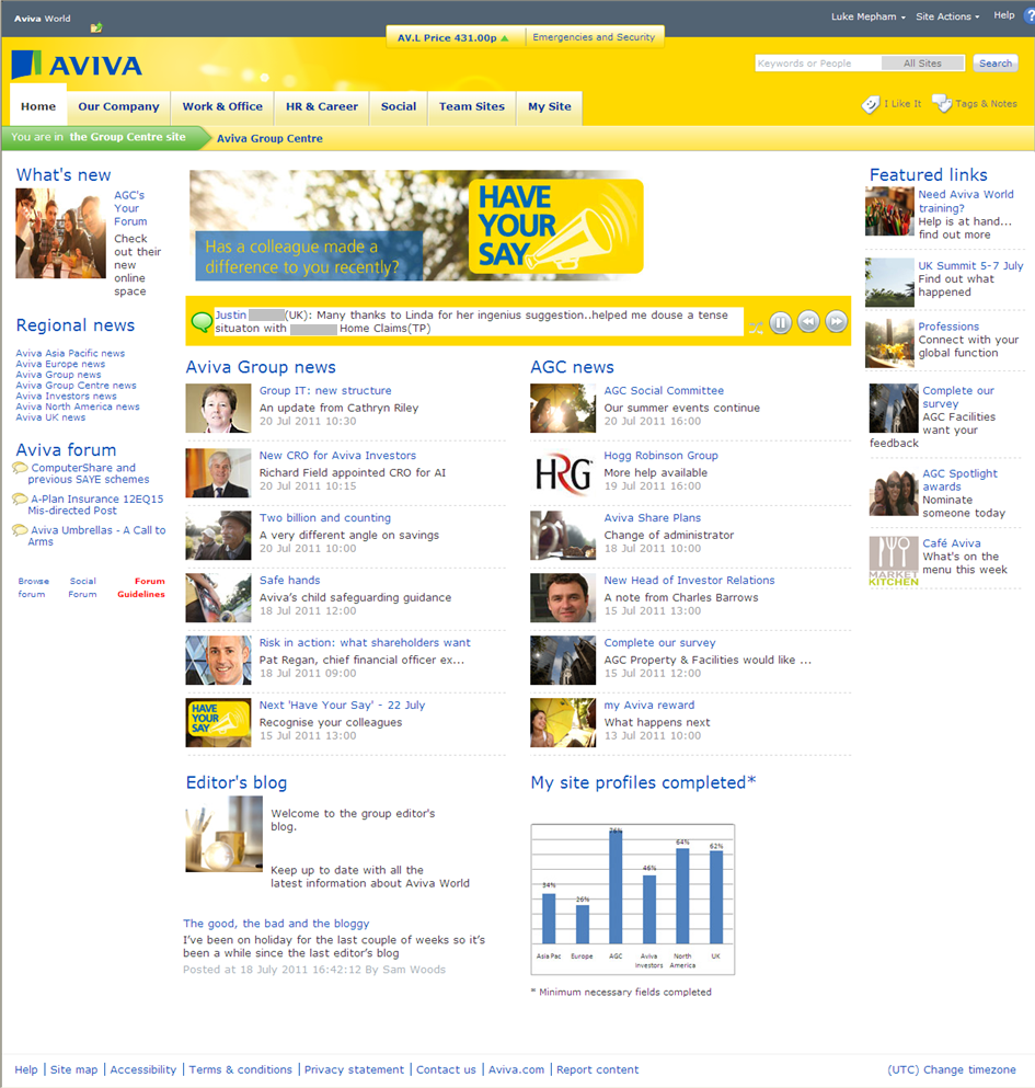 Sharepoint site design ideas - Aviva Homepage