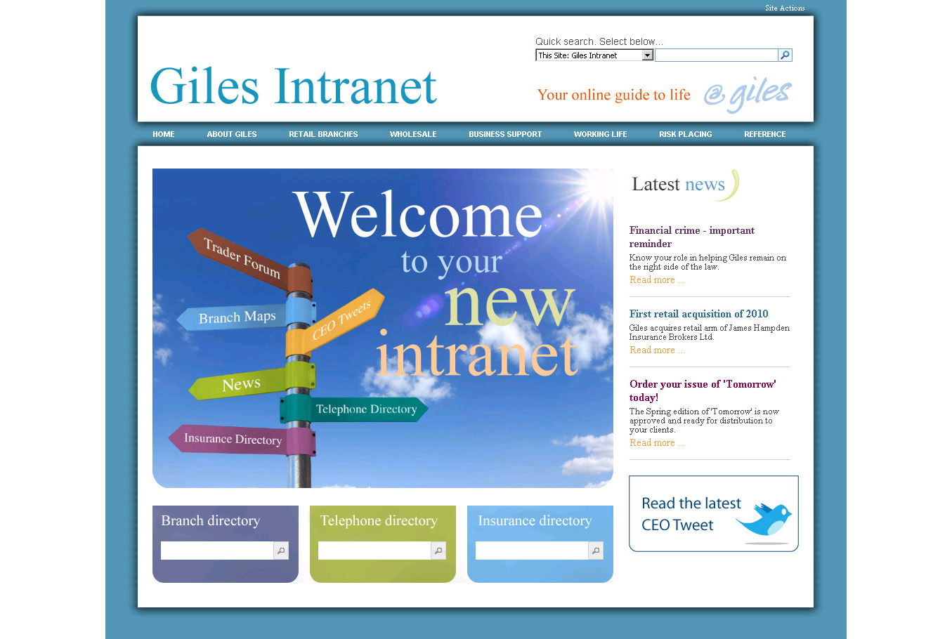 page resource that showed examples of different intranet designs
