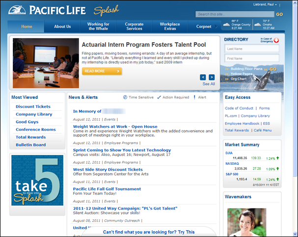 Intranet examples for Company intranet template